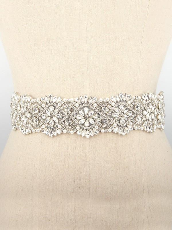 Gorgeous Cloth Sashes With Rhinestones/Imitation Pearls