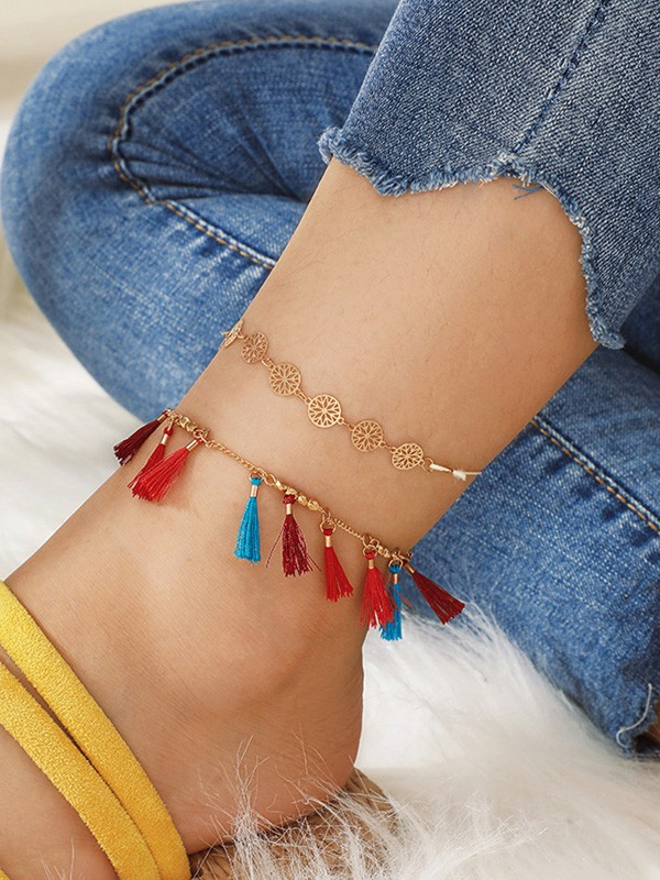 Beautiful Alloy With Tassel Anklets(2 Pieces)