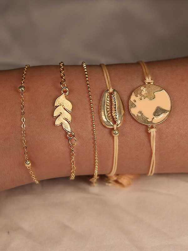 Trending Alloy With Shell/Leaf Bracelets(5 Pieces)