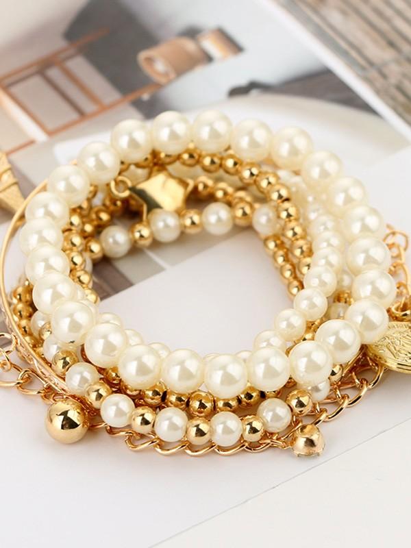 Vintage Korean Alloy With Pearl Hot Sale Bracelets(5 Pieces)