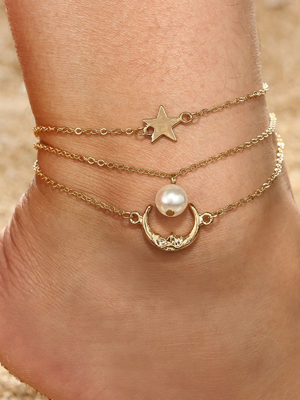 Fashion Alloy With Imitation Pearl/Star Anklets(3 Pieces)