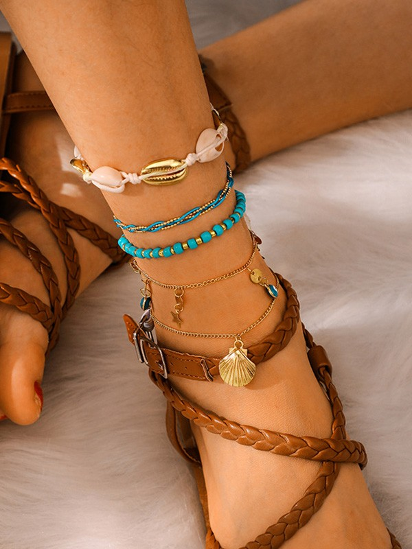 Pretty Alloy With Shell Anklets(5 Pieces)