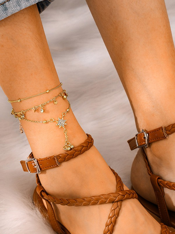 Brilliant Alloy With Rhinestone Anklets(3 Pieces)