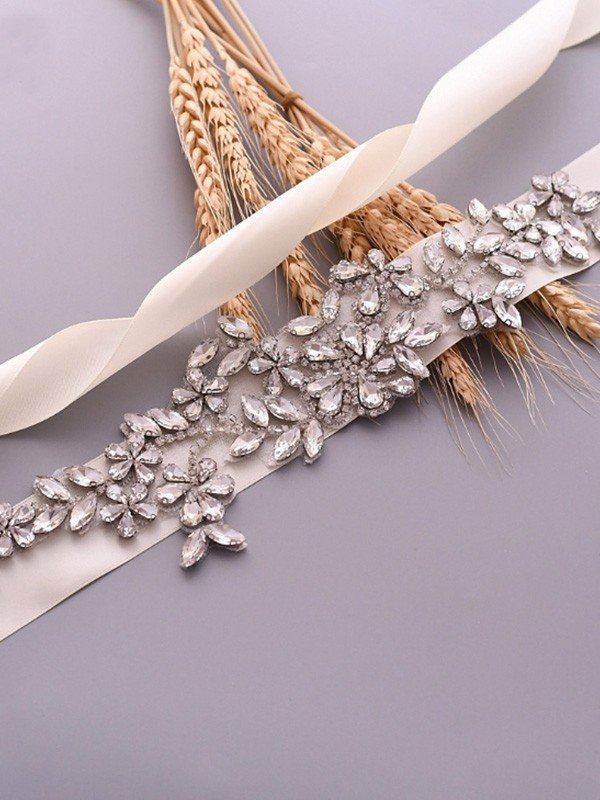 Exquisite Satin Sashes With Rhinestones