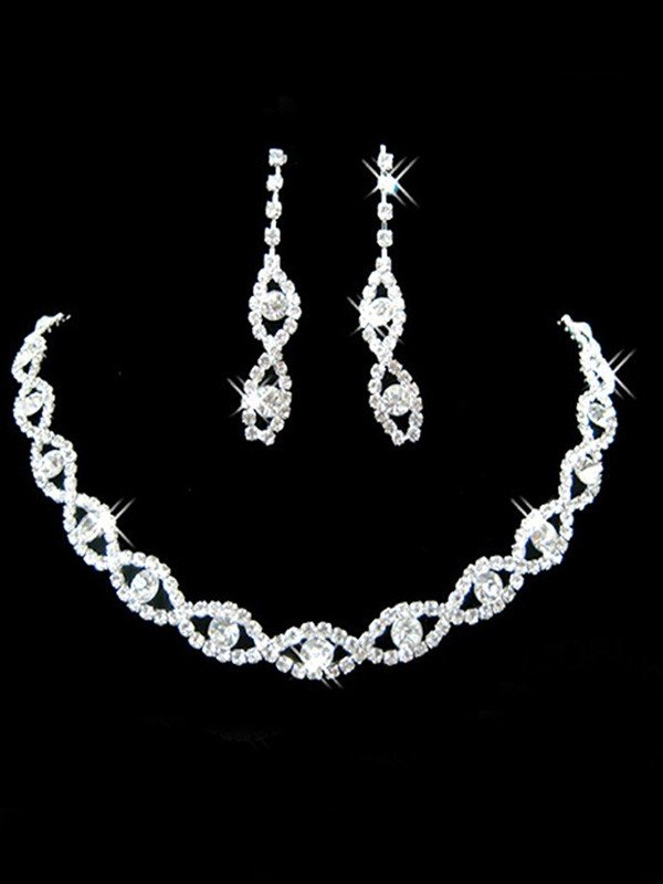 Korean Pretty Rhinestone Wedding Bridal Jewelry Set