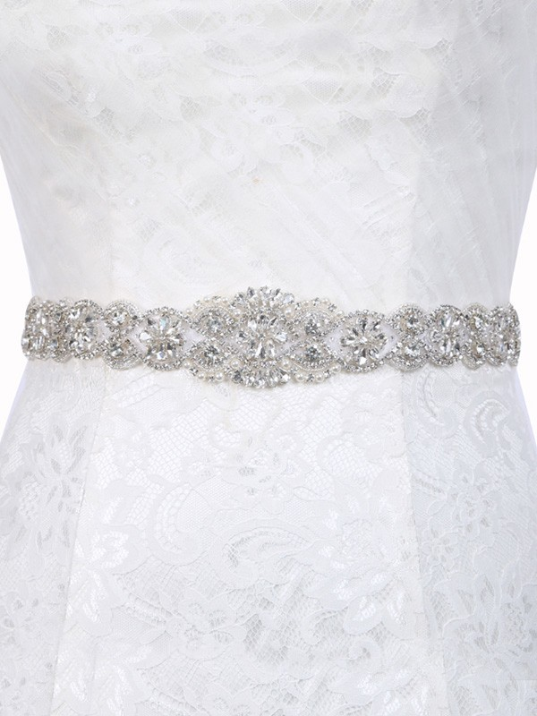 Brilliant Polyester Fiber Sashes With Rhinestones/Imitation Pearls