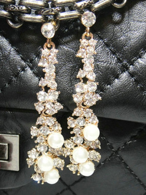 Attractive Alloy With Rhinestone Ladies's Earrings