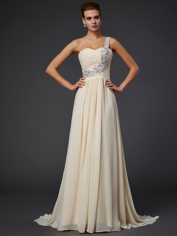 def3efeb1b A-Line/Princess One-Shoulder Sleeveless Beading Applique Long Chiffon  Dresses