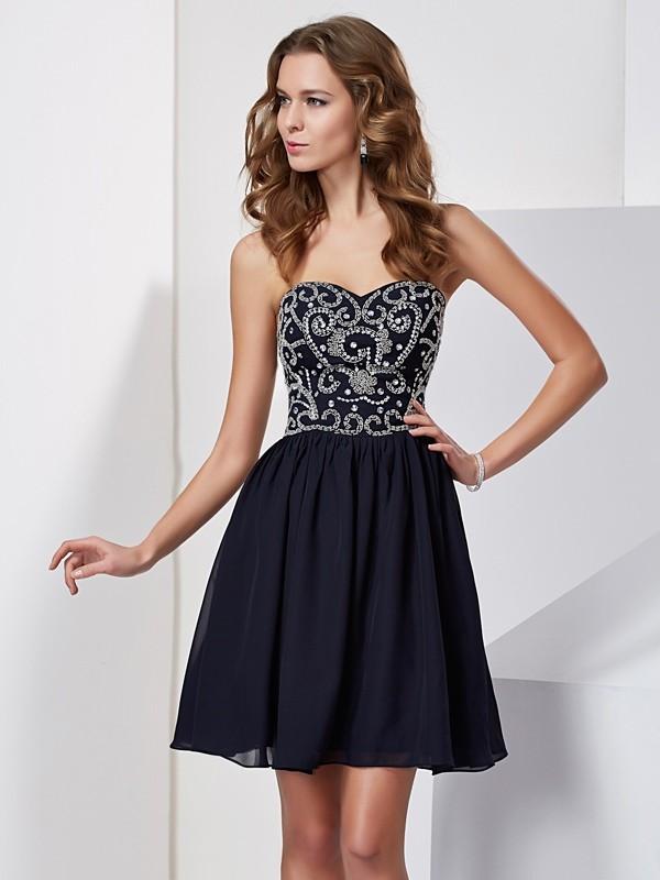 3662840636f A-Line Princess Sweetheart Beading Sleeveless Chiffon Short Homecoming  Dresses
