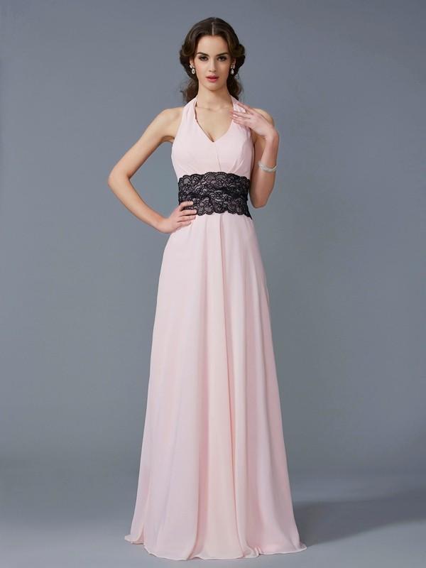 cae53585f648 A-Line/Princess Halter Sleeveless Applique Long Chiffon Dresses ...