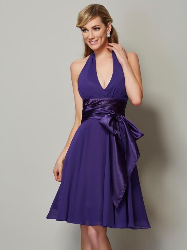 e1b8790c55 A-Line Princess Halter Sleeveless Short Chiffon Bridesmaid Dresses ...