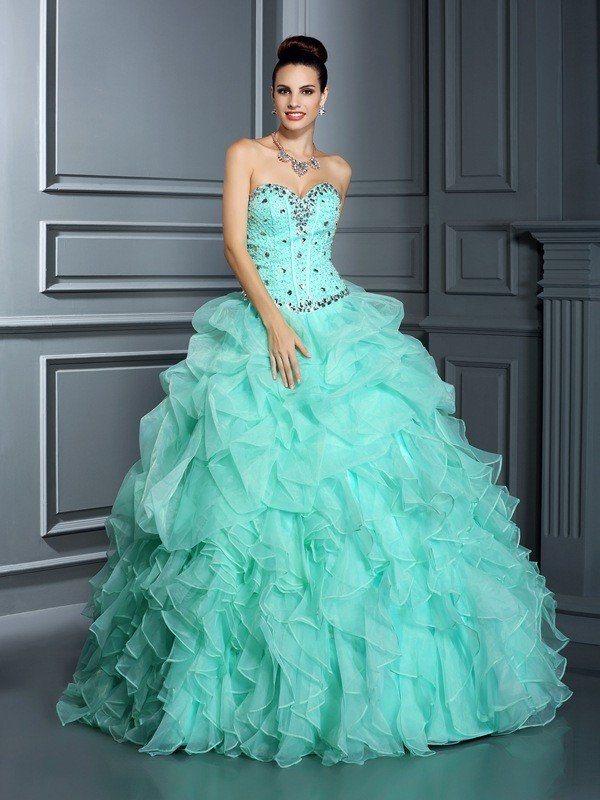 4ea81527d7 Ball Gown Sweetheart Beading Sleeveless Long Organza Quinceanera Dresses