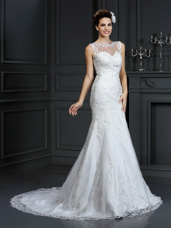 Sheathcolumn Bateau Lace Sleeveless Long Satin Wedding Dresses