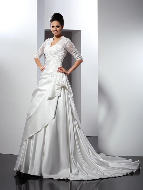 A-Line Princess V-neck Applique 1 2 Sleeves Long Satin Wedding ... af39aad86