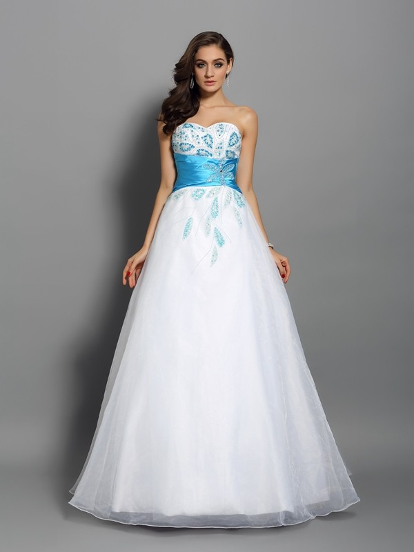 0c2776a6fb9 Ball Gown Sweetheart Beading Sleeveless Long Satin Quinceanera Dresses