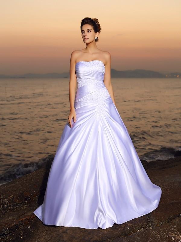 ball gown strapless beading sleeveless long satin beach wedding dresses hebeos online. Black Bedroom Furniture Sets. Home Design Ideas