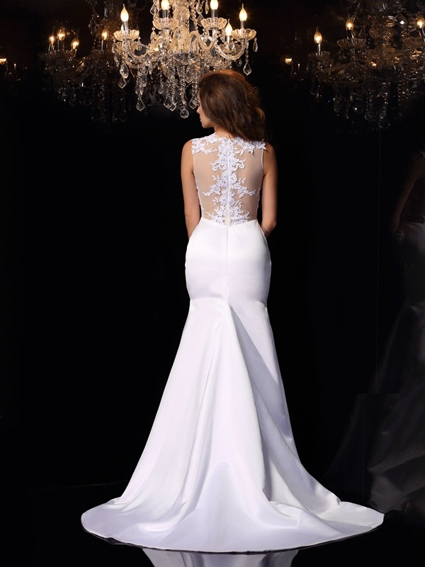 95a56f01ec3611 Trumpet Mermaid High Neck Applique Sleeveless Long Satin Wedding Dresses -  Hebeos Online