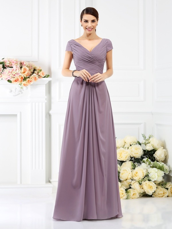 A-Line Princess V-neck Pleats Short Sleeves Long Chiffon Bridesmaid ... af33f31c84cd