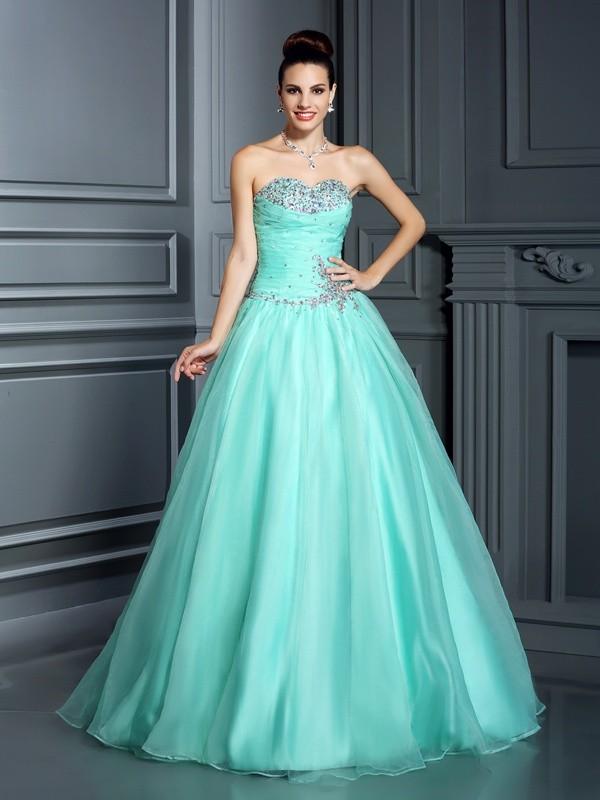d35af08ec80 Ball Gown Sweetheart Beading Sleeveless Long Organza Quinceanera Dresses