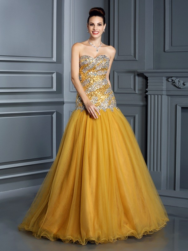 A-Line/Princess Sweetheart Ruffles Sleeveless Long Satin Dresses ...