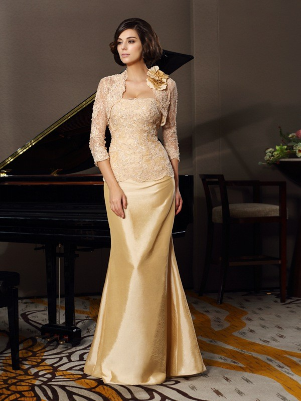917726a3fe Trumpet Mermaid Sweetheart Lace Sleeveless Long Taffeta Mother of the Bride  Dresses
