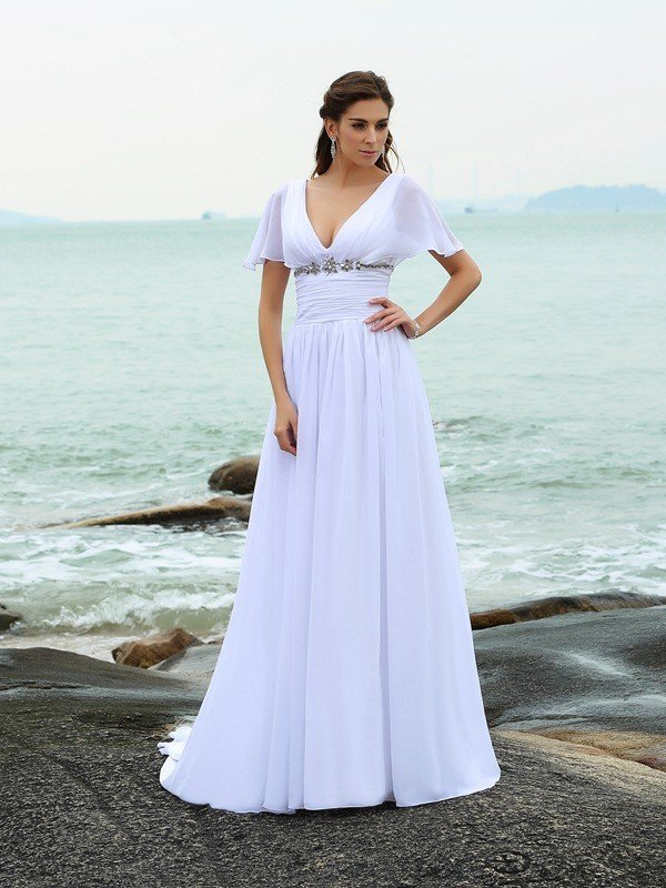 A line princess v neck ruffles short sleeves long chiffon for Beach plus size wedding dresses