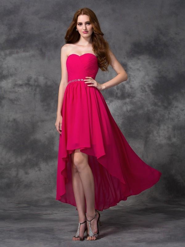 9b920e3ea8978 A-line Princess Sweetheart Beading Sleeveless High Low Chiffon ...