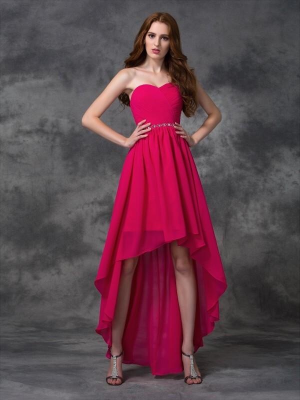 1c9b6195702c3 A-line Princess Sweetheart Beading Sleeveless High Low Chiffon Bridesmaid  Dresses - Hebeos Online