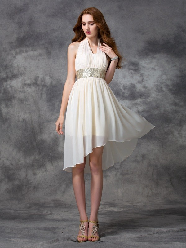 6e997b9c4511 A-line/Princess Halter Sequin Sleeveless High Low Chiffon Cocktail Dresses