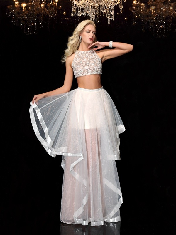 A Lineprincess Scoop Applique Sleeveless Long Tulle Two Piece