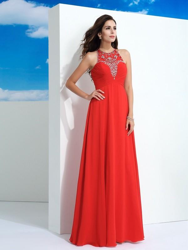 e0b3370b507b A-Line/Princess Sheer Neck Beading Sleeveless Long Chiffon Dresses ...