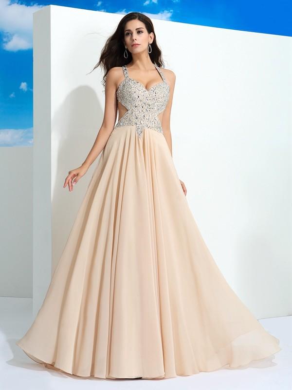 A-Line/Princess Straps Beading Sleeveless Long Chiffon Dresses ...