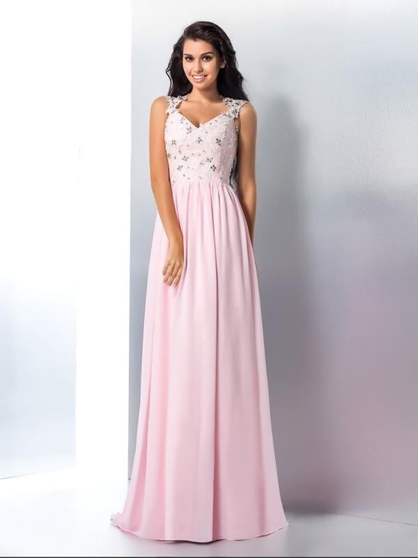 9466c551ec4 A-Line Princess V-neck Applique Sleeveless Long Chiffon Dresses ...