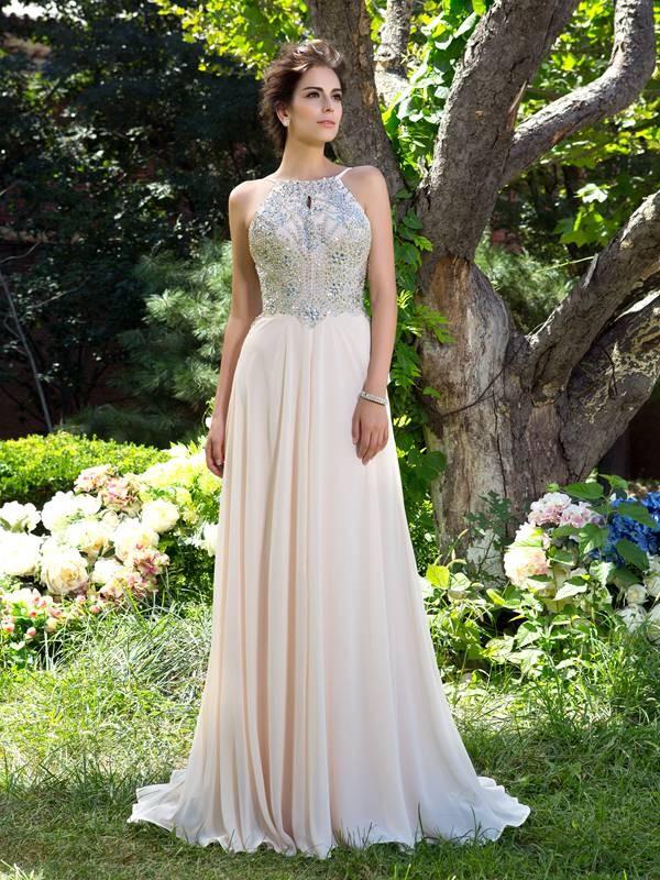 2fdc654562f0 A-Line/Princess Spaghetti Straps Beading Sleeveless Long Chiffon Dresses