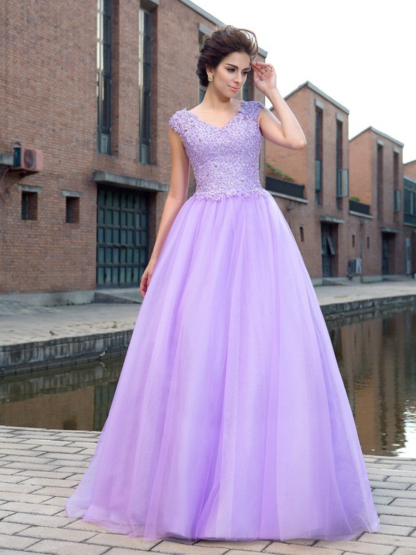 Ball Gown V-neck Applique Short Sleeves Long Net Dresses - Hebeos Online