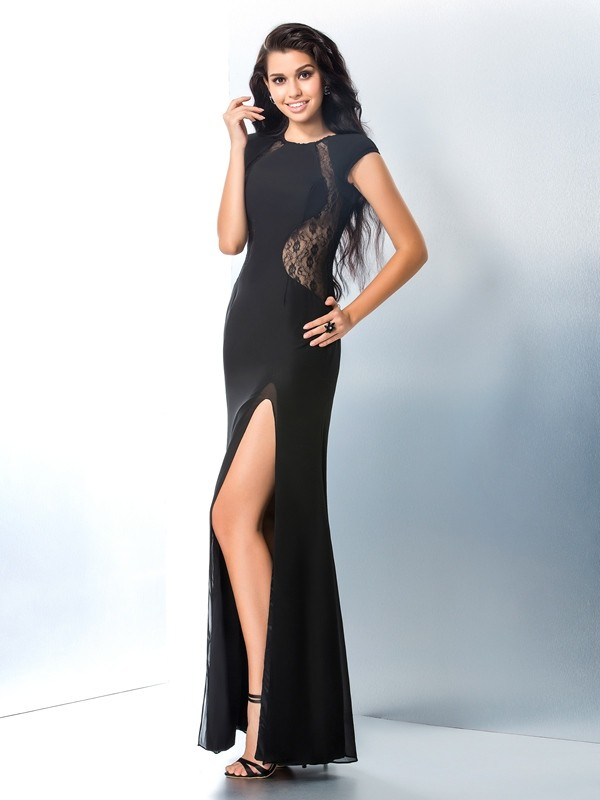 Trumpet Mermaid Scoop Lace Short Sleeves Long Chiffon Dresses
