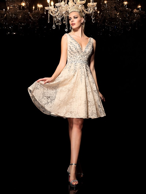9d35be2f1f0 A-Line Princess V-neck Beading Sleeveless Short Lace Cocktail Dresses -  Hebeos Online