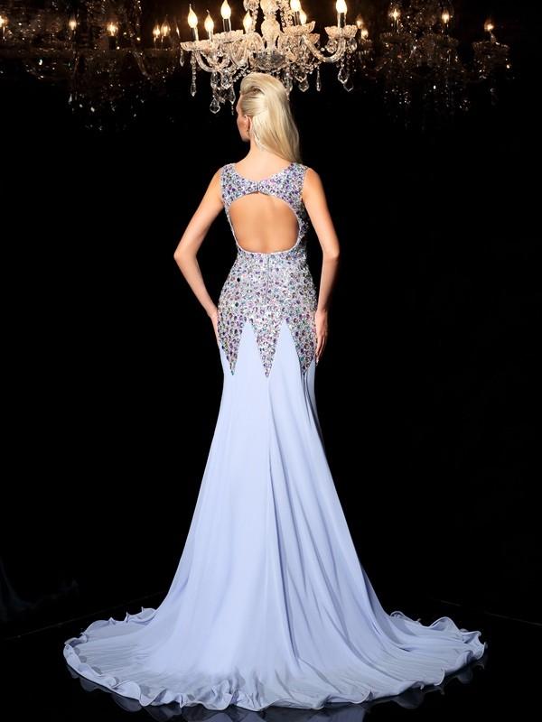 0e30501fb1ff Sheath/Column Straps Rhinestone Sleeveless Long Chiffon Dresses - Hebeos  Online