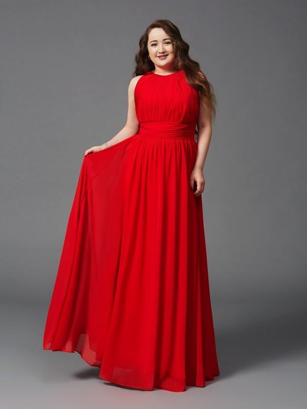 A-Line/Princess Jewel Ruched Sleeveless Long Chiffon Plus Size ...