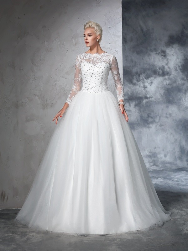 Ball Gown Bateau Lace Long Sleeves Long Net Wedding Dresses - Hebeos ...