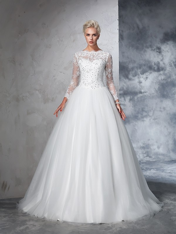 1cd40a0df37c Ball Gown Bateau Lace Long Sleeves Long Net Wedding Dresses - Hebeos