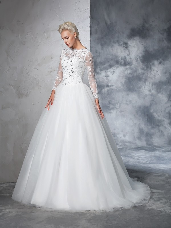 Ball Gown Bateau Lace Long Sleeves Long Net Wedding Dresses Hebeos
