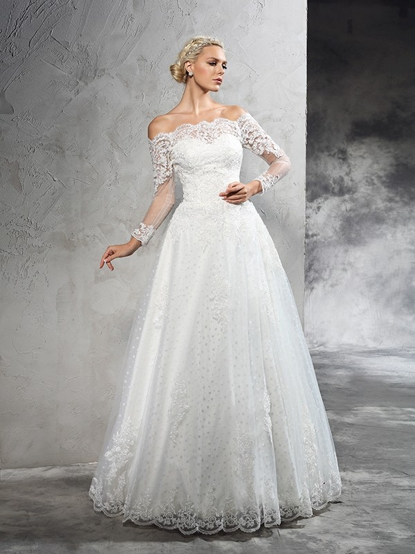 Ball Gown Off The Shoulder Lace Long Sleeves Long Net Wedding