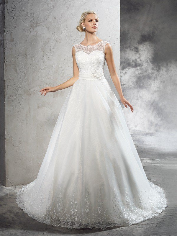 Ball Gown Sheer Neck Sash/Ribbon/Belt Sleeveless Long Net Wedding ...