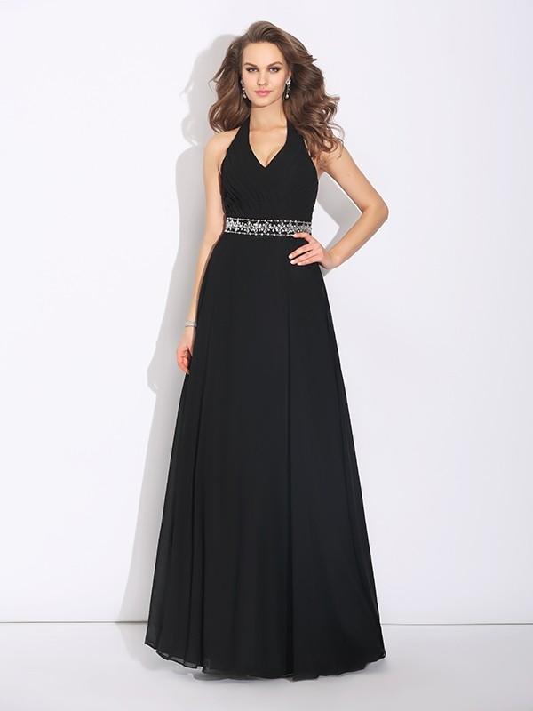 dfde5275dd81 A-Line/Princess Halter Beading Sleeveless Long Chiffon Bridesmaid Dresses -  Hebeos Online