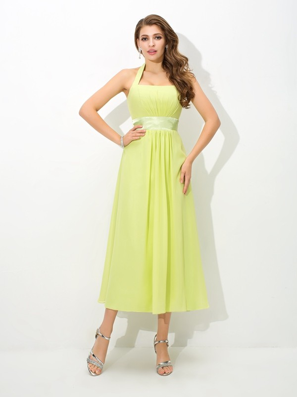 35bd74db26 A-Line/Princess Halter Pleats Sleeveless Long Chiffon Bridesmaid ...