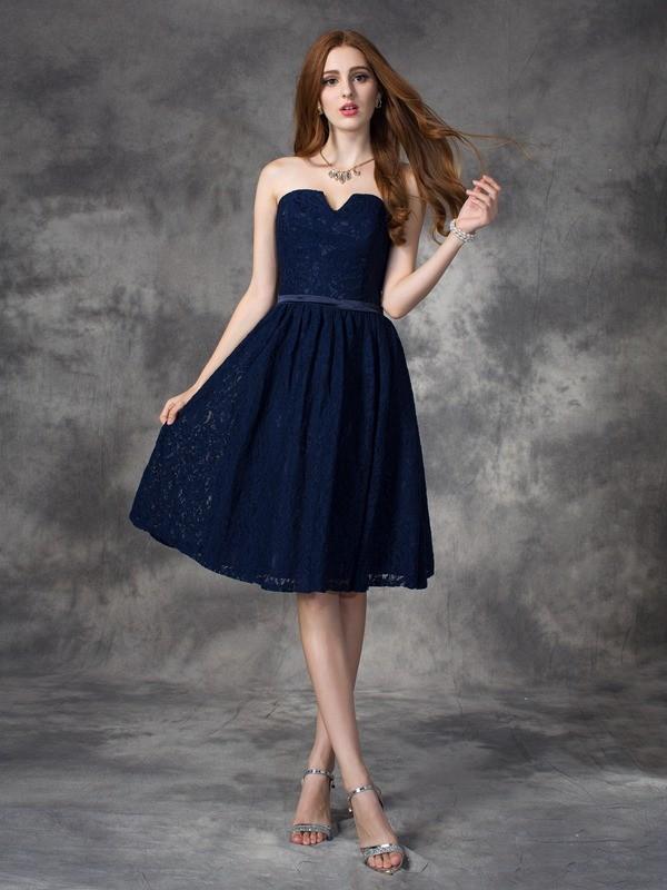 f1fec4fea1 A-line Princess Sweetheart Lace Sleeveless Short Lace Bridesmaid ...