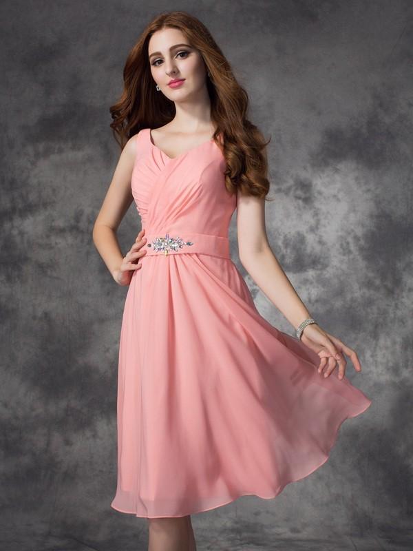 a10d4cd3f07dbc A-line Princess Straps Rhinestone Sleeveless Short Chiffon Bridesmaid  Dresses