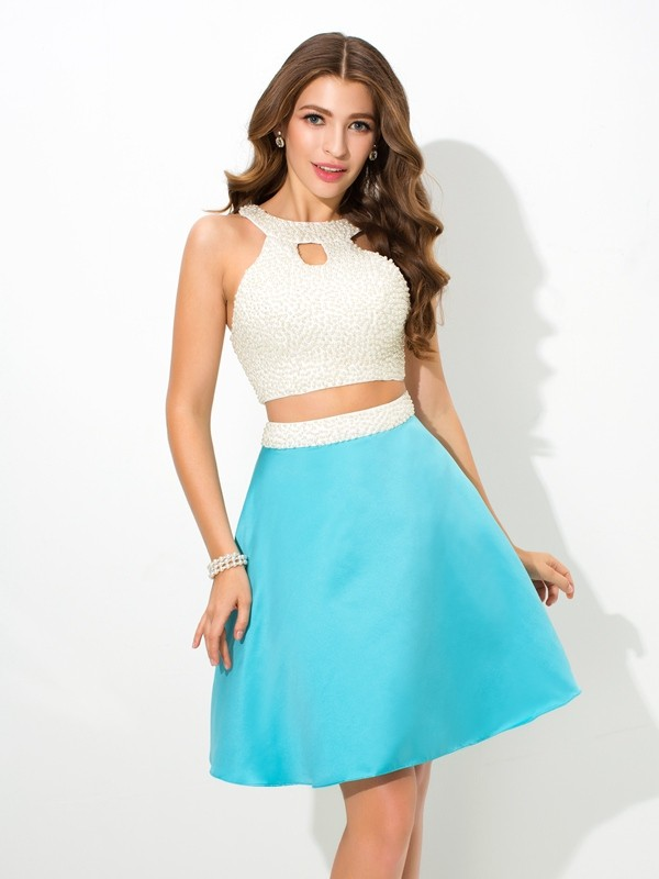 A Line Princess Jersey Beading Sleeveless Short Satin Two Piece Dresses