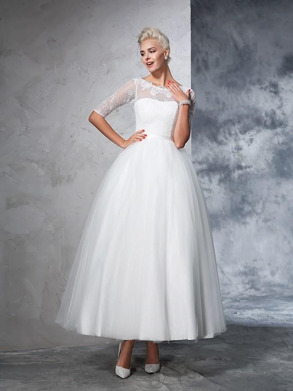 87eae0725efe Ball Gown Bateau Lace 1/2 Sleeves Long Net Wedding Dresses. Loading.
